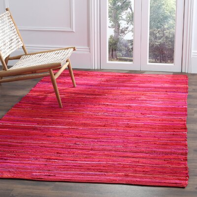Shatzer Hand-Woven Red Area Rug Rug Size: Rectangle 4 x 6