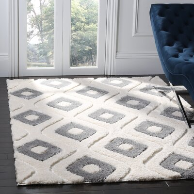 Helms Cream/Gray Area Rug Rug Size: Rectangle 8 x 10
