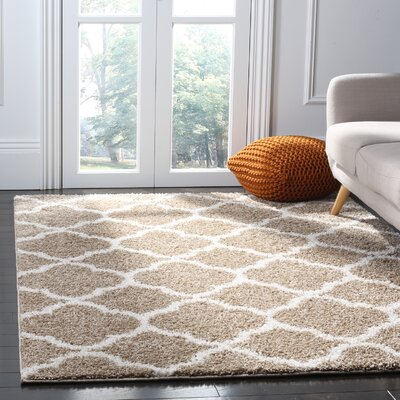 Helsel Dark Beig/Ivory Area Rug Rug Size: Rectangle 51 x 76