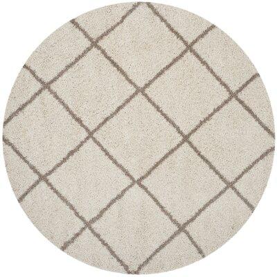 Elizabeth Street Ivory/Brown Area Rug Rug Size: Round 7