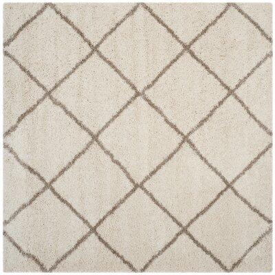 Elizabeth Street Ivory/Brown Area Rug Rug Size: Square 7