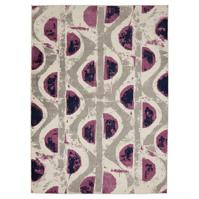 Bittner Circle Gray/Purple Area Rug Rug Size: 5'3