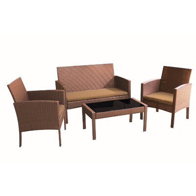 Castanon 4 Piece Deep Seating Group with Cushions Fabric: Brown