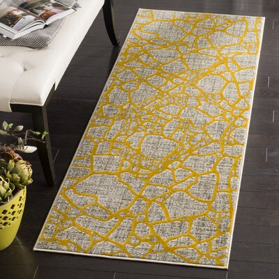 Sevastopol Gray/Yellow Area Rug Rug Size: Runner 24 x 67