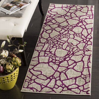 Sevastopol Gray/Purple Area Rug Rug Size: Runner 24 x 67