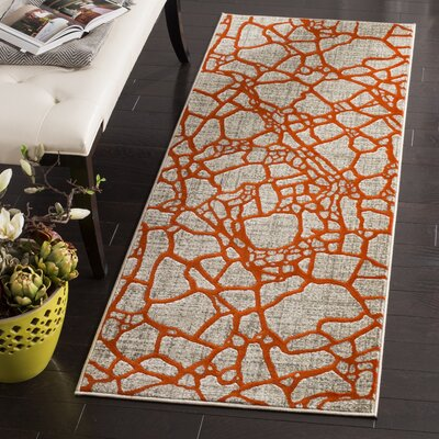 Sevastopol Gray/Orange Area Rug Rug Size: Runner 24 x 67