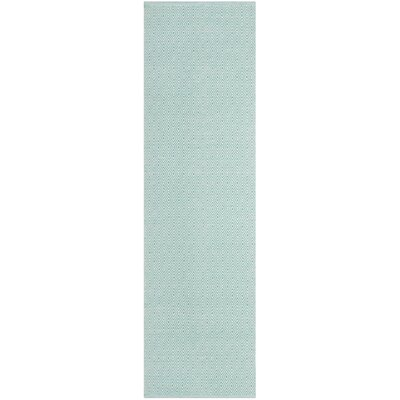 Sessums Hand-Woven Ivory/Aqua Area Rug Rug Size: Runner 23 x 8