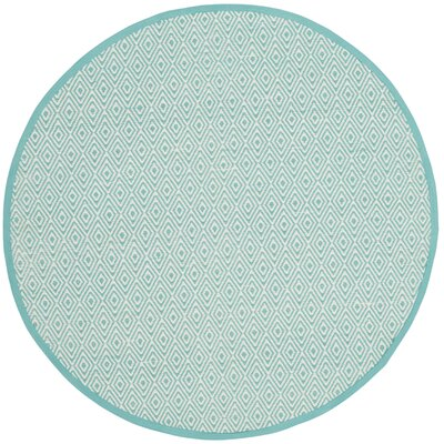 Sessums Hand-Woven Ivory/Aqua Area Rug Rug Size: Round 4
