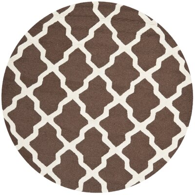 Charlenne Hand-Tufted Wool Dark Brown/Ivory Area Rug Rug Size: Round 6