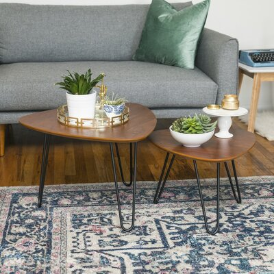 Bisson Hairpin Leg Wood 2 Piece Coffee Table Set
