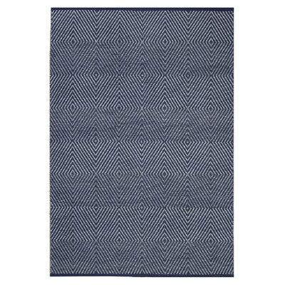 Criswell Hand-Woven 100% Cotton Dark Blue/White Area Rug