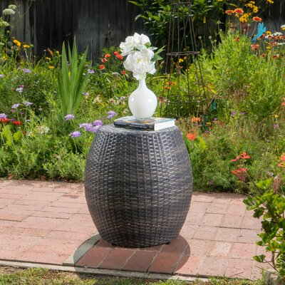 Balbuena Outdoor Wicker End Table Finish: Gray