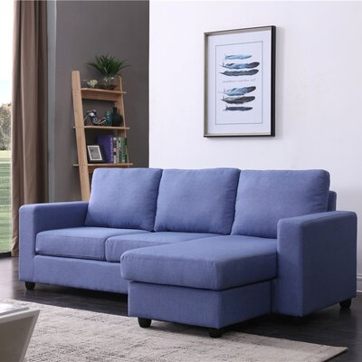 Cleland Heights Reversible Sectional Upholstery: Blue