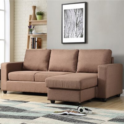 Cleland Heights Reversible Sectional Upholstery: Brown