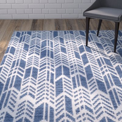 Paz Hand-Woven Navy/Ivory Area Rug Rug Size: Rectangle 8 x 10