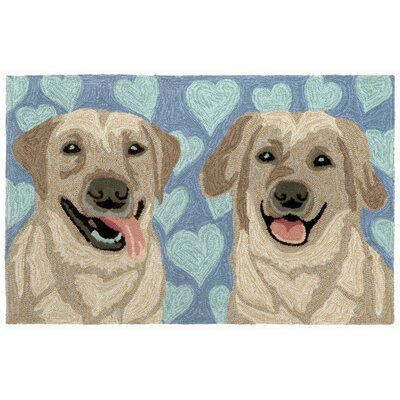 Seavey Puppy Love Blue Indoor/Outdoor Area Rug Rug Size: 26 x 4