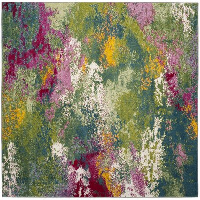 Sharber Green/Pink Area Rug Rug Size: Square 67
