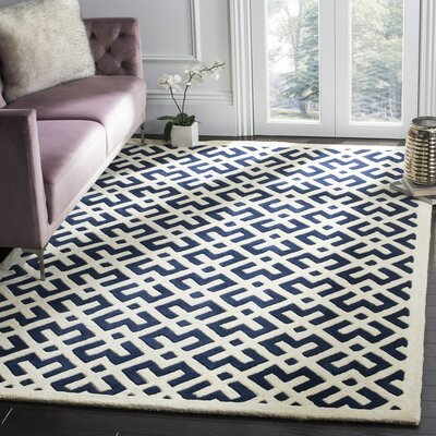 Wilkin Hand-Tufted Dark Blue/Ivory Area Rug Rug Size: Rectangle 6 x 9