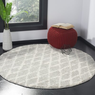 Shier Light Gray/Cream Area Rug Rug Size: Round 51 x 51