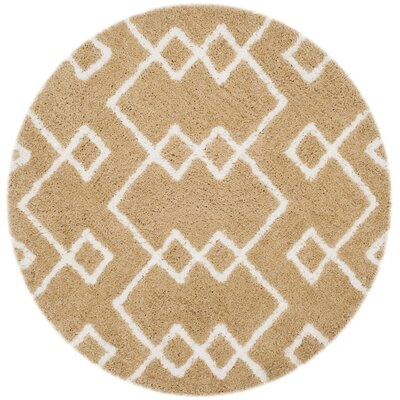 Shead Hand-Tufted Beige/Ivory Area Rug Rug Size: Round 5 x 5