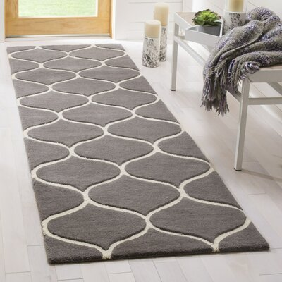 Martins Hand-Tufted Dark Gray/Ivory Area Rug Rug Size: Rectangle 26 x 8