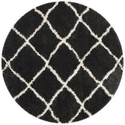 Cherry Street Charcoal / Ivory Area Rug Rug Size: Round 67