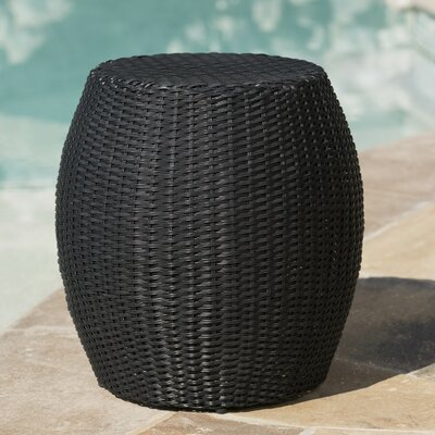 Balbuena Outdoor Wicker End Table Finish: Black