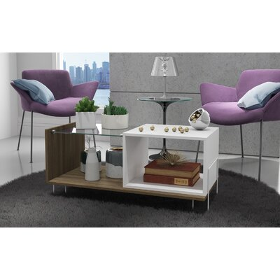 Vuong End Table with 2 Shelves Color: Oak/White