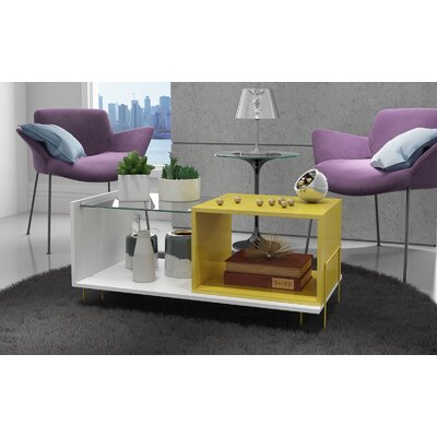 Vuong End Table with 2 Shelves Color: White/Yellow