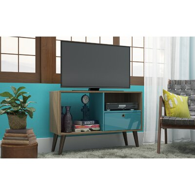 Vreeland 35.43 TV Stand with 1 Drawer and 2 Shelves Color: Oak/Aqua