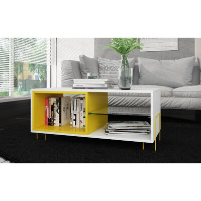 Vuong 35.43 TV Stand with 3 Shelves Color: White/Yellow