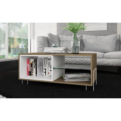 Vuong 35.43 TV Stand with 3 Shelves Color: Oak/White
