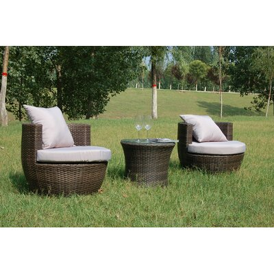 Buck 3 Piece Rattan Sofa Set with Cushions Frame Finish: Brown