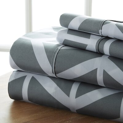 Fiala Chevron Premium Ultra Soft Printed Bed Microfiber Sheet Set Size: California King, Color: Gray