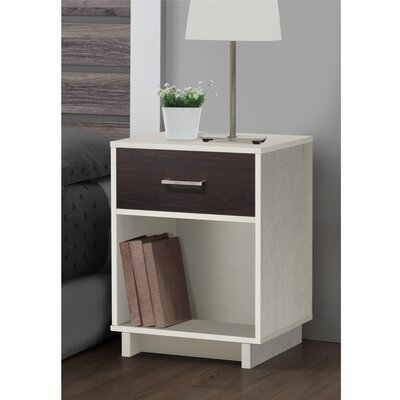 Chicopee Modern 1 Drawer Nightstand Finish: Vintage White/Espresso