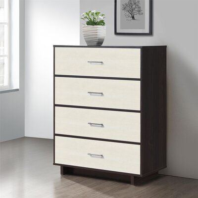 Chicopee 4 Drawer Chest Color: Espresso/Vintage White