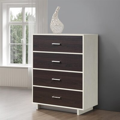 Chicopee Wood 4 Drawer Chest Color: Vintage White/Espresso