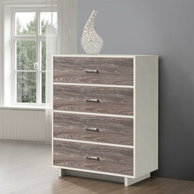 Chicopee Wood 4 Drawer Chest Color: Vintage White/Rustic