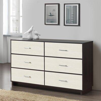 Chicopee Wood 6 Drawer Dresser Color: Espresso/ Vintage White