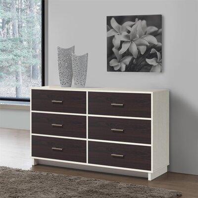 Chicopee 6 Drawer Dresser Color: Vintage White/Espresso