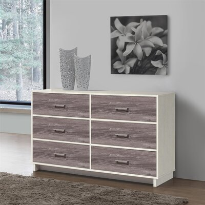 Chicopee 6 Drawer Dresser Color: Vintage White/Rustic