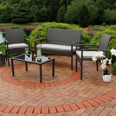 Waldschmidt Wicker 4 Piece Rattan Seating Group with Cushions