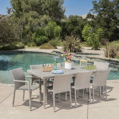 Wiersma Outdoor Wicker 9 Piece Dining Set Color: Chateau Gray