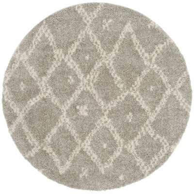 Amicus Gray/Beige Area Rug Rug Size: Round 67