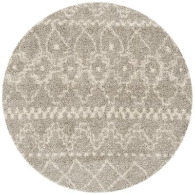 Amicus Gray/Ivory Area Rug Rug Size: Round 67