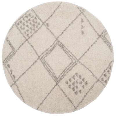 Amicus Beige/Gray Area Rug Rug Size: Round 67