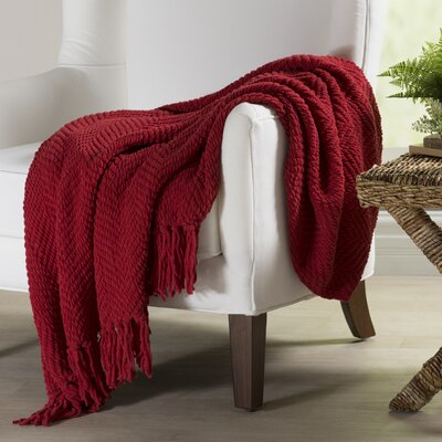 Nader Tweed Knitted Throw Blanket Color: Chili Pepper