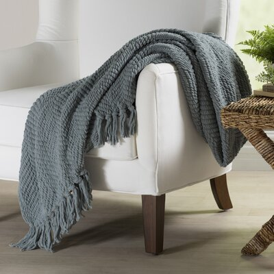 Nader Tweed Knitted Throw Blanket Color: Silver Blue