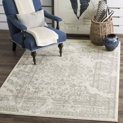 Glover Ivory/Silver Area Rug Rug Size: Rectangle 12 x 18