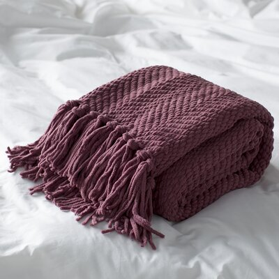 Nader Tweed Knitted Throw Blanket Color: Crushed Berry